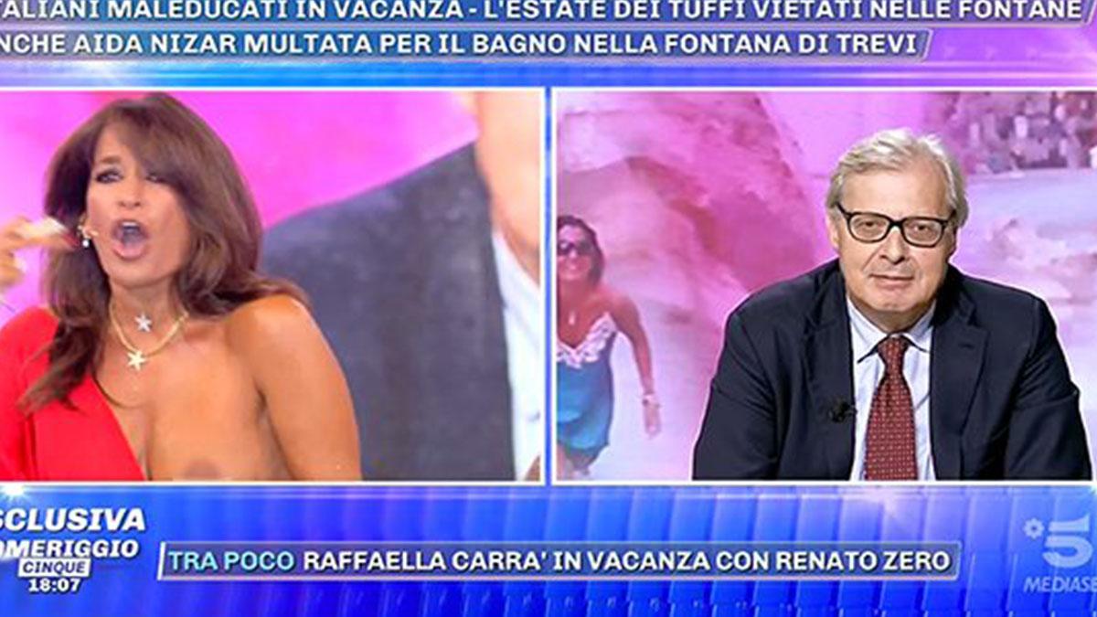 Aida Nizar fuori di seno a Pomeriggio 5, poi la proposta 'indecente' a Vittorio Sgarbi