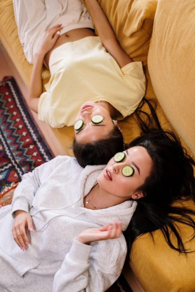 migliori amiche ragazze maschera cetriolo