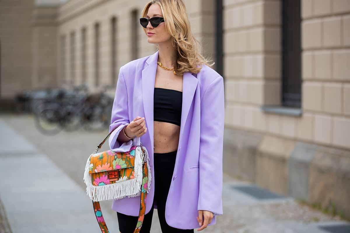 giacca lila completo nero primavera