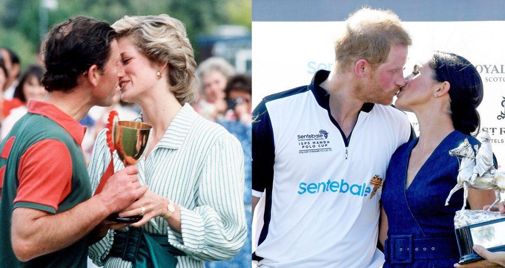 Il principe Carlo e Diana, il Principe Harry e Meghan messi a confronto mentre si baciano a una partita di polo