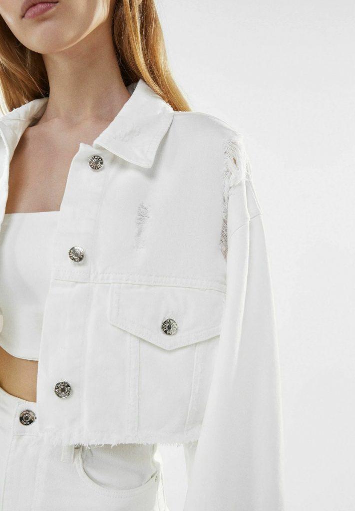Bershka giacca di jeans bianca