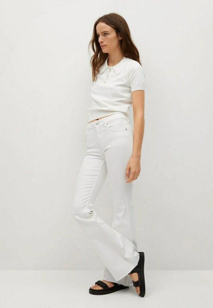 Mango Jeans bianchi zampa d'elefante