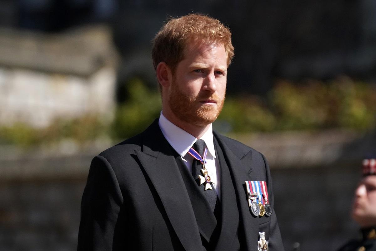 Il principe Harry al funerale del nonno Filippo