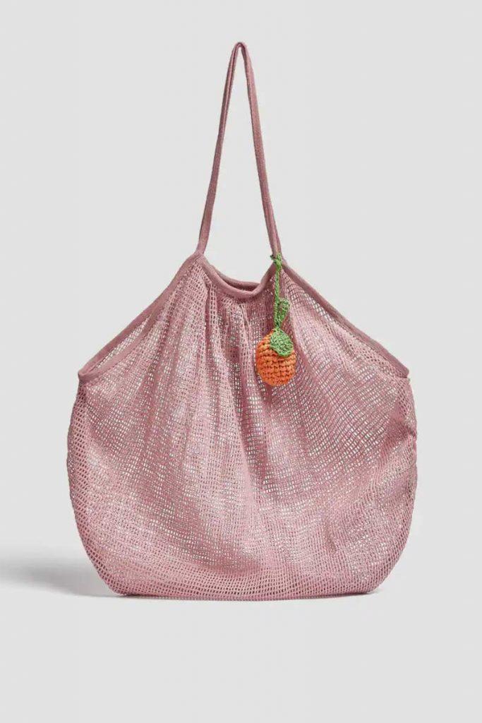 Shopper a rete rosa Pull & Bear