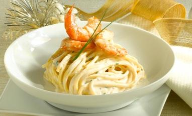 Spaghetti con ricotta e gamberi
