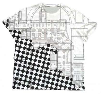 T-Shirt Prada con gli stores delle città