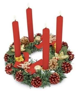 corona avvento candele rosse