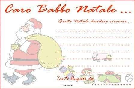 Letterine per Babbo Natale da stampare e compilare