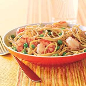 spaghetti gamberi piselli