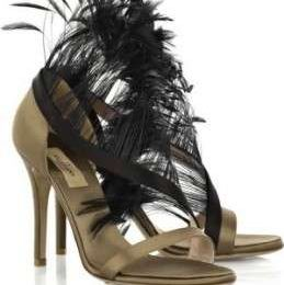 Scarpe Valentino: Feather-trimmed satin sandals