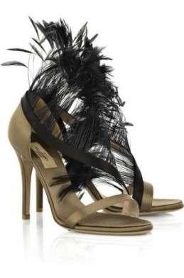 Scarpe Valentino: Feather-trimmed satin sandals