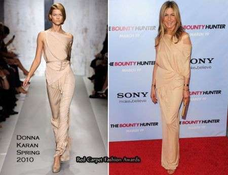 Jennifer Aniston con un abito Donna Karan