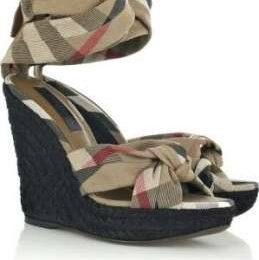 Scarpe Burberry Prorsum, Checked wedge sandals