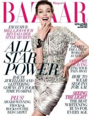 Milla Jovovich bambola del futuro per Harper's Bazaar