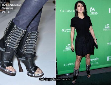 Salma Hayek con scarpe Balenciaga