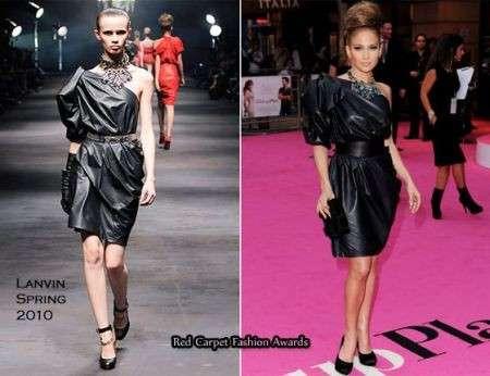 Jennifer Lopez con un abito Lanvin in pelle