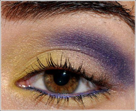 trucco occhi giallo e viola