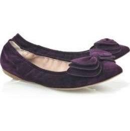 Miu Miu scarpe, le ballerine viola con il fiocco