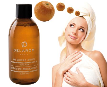 Pelle secca e screpolata: gel doccia Delarom all'arancio bio