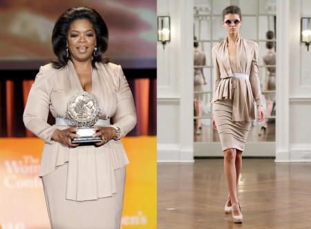 Oprah Winfrey veste con tailleur Victoria Beckham Collection