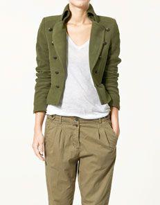 giacca militare velluto verde