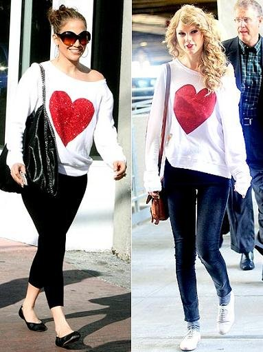 Jennifer Lopez e Taylor Swift: stessa felpa con maxi cuore