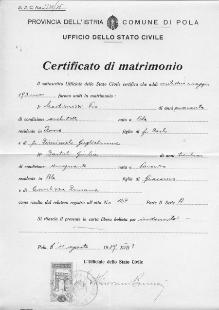 Promessa di matrimonio documenti