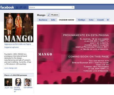 Mango, la sfilata in diretta su Facebook