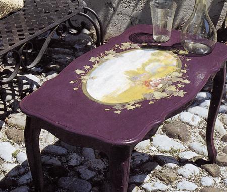 Decoupage legno tavolino