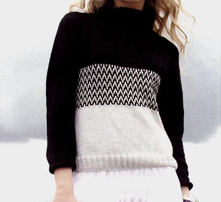Lavori a maglia: pullover bianco e nero