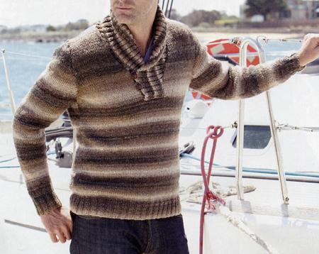 Lavori a maglia: un pullover sciallato per lui