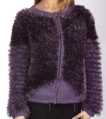 Schemi maglia: un giubbino con filato ciuffo