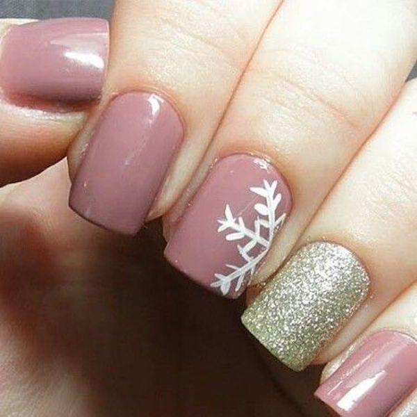 Unghie natalizie oro e rosa