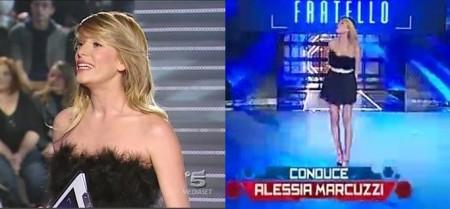 GF11: Alessia Marcuzzi in piume e tulle nero
