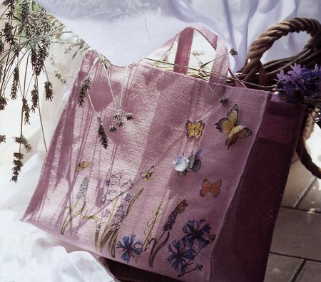 Decoupage: fiori di campo sulla borsa