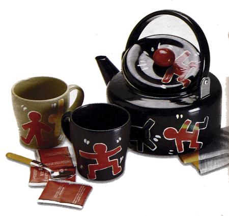 Decoupage: set da tè di Keith Haring