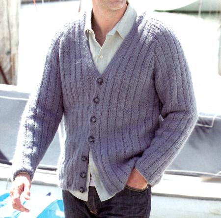 Lavori a maglia: cardigan per uomo da mare