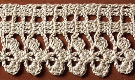 Schemi uncinetto filet a trifoglio per un set di for Schemi bordi uncinetto per asciugamani