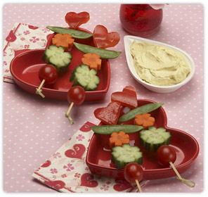 Ricette San Valentino: spiedini di verdure romantici
