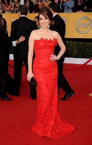 Oscar de la Renta: l'abito rosso di Tina Fey