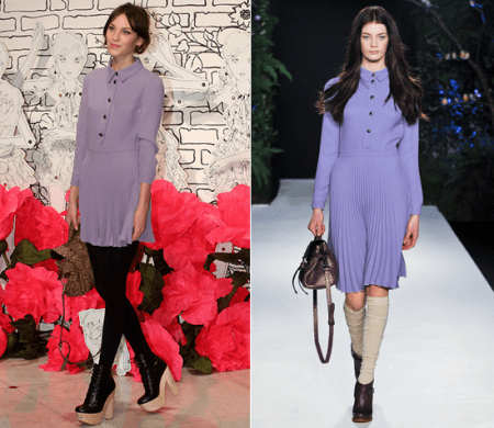 Alexa Chung con un total look Mulberry
