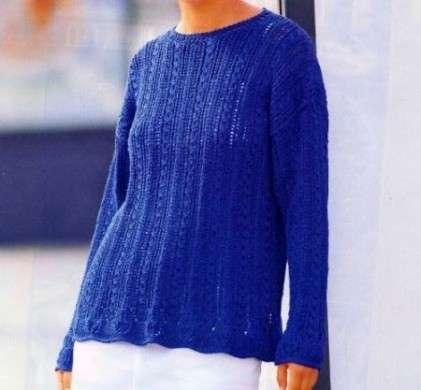 Lavori ai ferri  come creare un leggero maglione a punto treccia ... 8da2c91b7d28