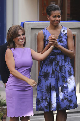 Michelle Obama con un abito azzurro Jason Wu