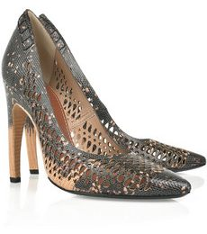 Scarpe Proenza Schouler: le Perforated lizard-effect leather pumps
