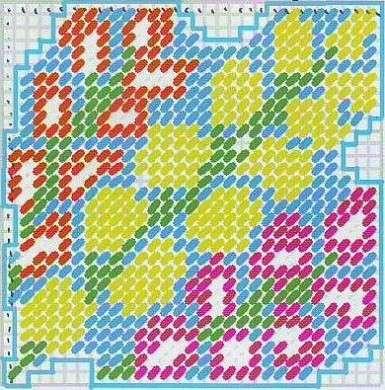 Schema sottobicchieri con la tecnica del mezzo punto