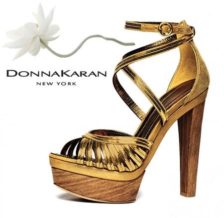 Donna Karan Metallic Gold Platform Sandal