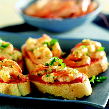 Ricette light: crostini di gamberetti