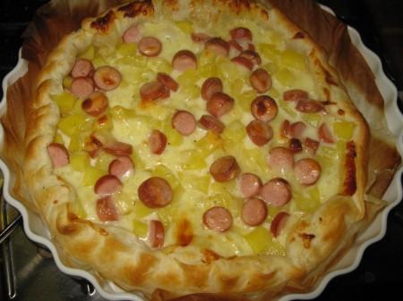 Ricette bambini: torta salata patate, mozzarella e wurstel