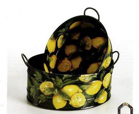 Decoupage: una tinozza decorata con limoni