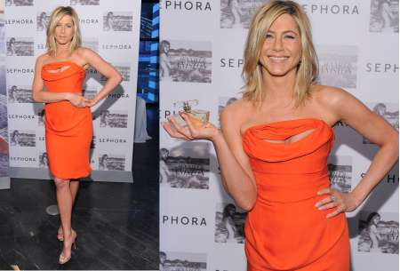 Jennifer Aniston in Vivienne Westwood da Sephora a New York